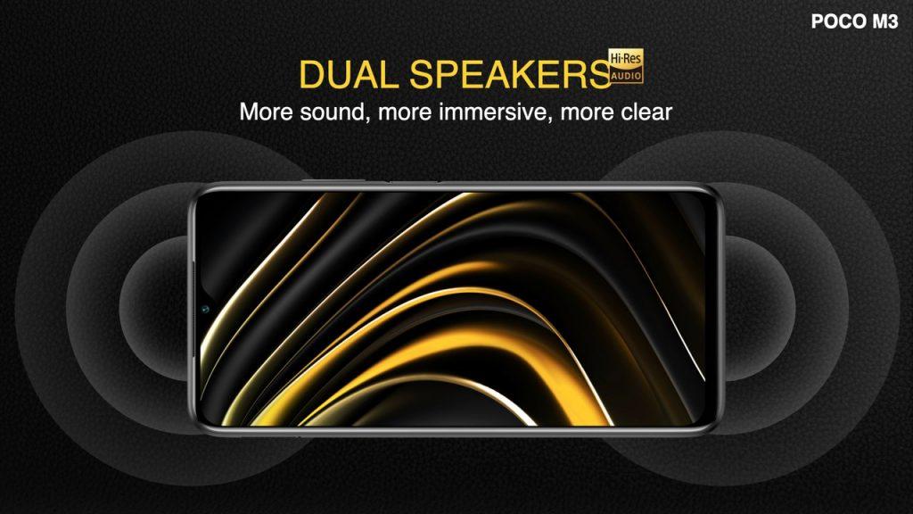 Telefon Poco M3 má dva hlasité reproduktory