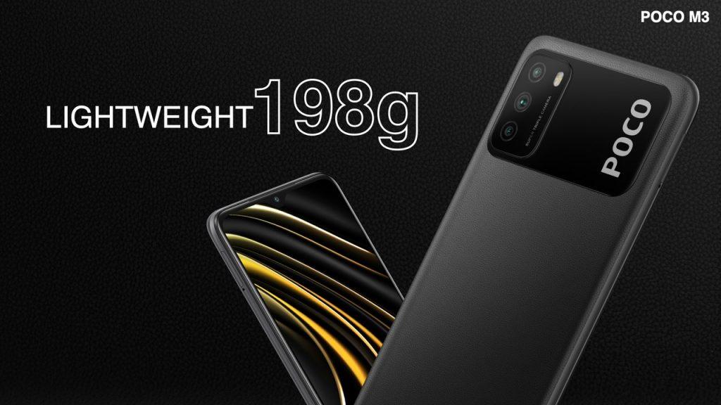 Telefon Poco M3 váží 198 gramů