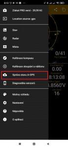 Zvolte Správa stavu A-GPS
