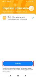 Data úspěšně přenesena - Hotovo
