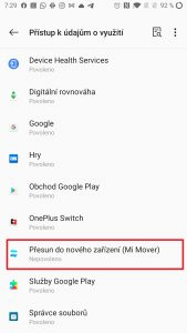 Otevřete Přesun do nového zařízení (Mi Mover)