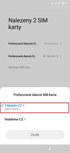 Volba preferované datové SIM