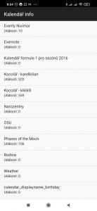 Názvy všech používaných kalendářů a počet událostí v nich