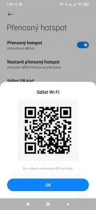 QR kód pro připojení přes Wi-Fi hotspot