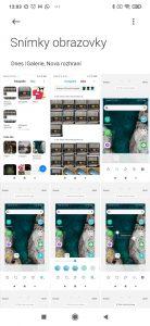 Sekce Snímky obrazovky