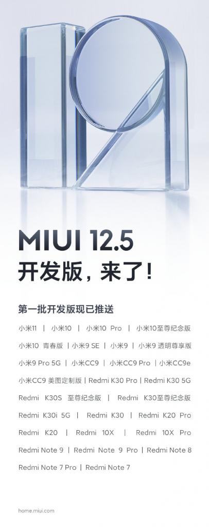 Seznam telefonů, jež dostanou MIUI 12.5