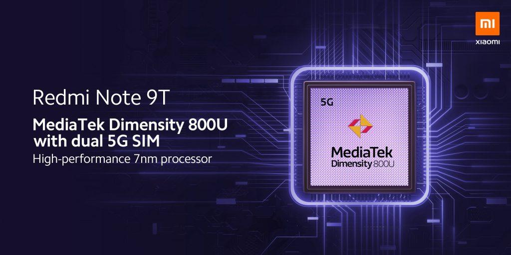 Srdcem Redmi Note 9T je osmijádrový procesor MediaTek Dimensity 800