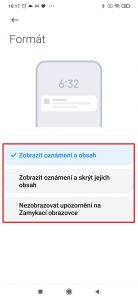 Možnosti zobrazování oznámení aplikací na domovské obrazovce