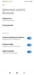 Nastavení možností Bluetooth