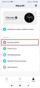 Přejděte do sekce Oznámení aplikací
