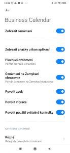 Sekce, kde můžete nastavit oznámení aplikací