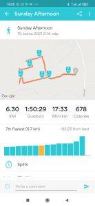 Záznam trasy v RunKeeperu