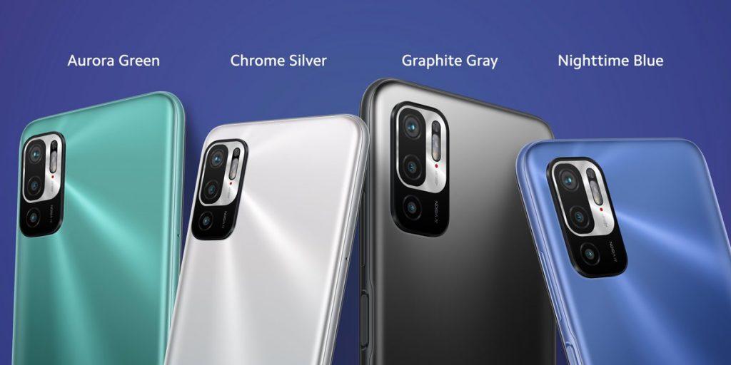 Redmi Note 10 5G bude dostupný ve stříbrné, šedé, modré a zelené barvě