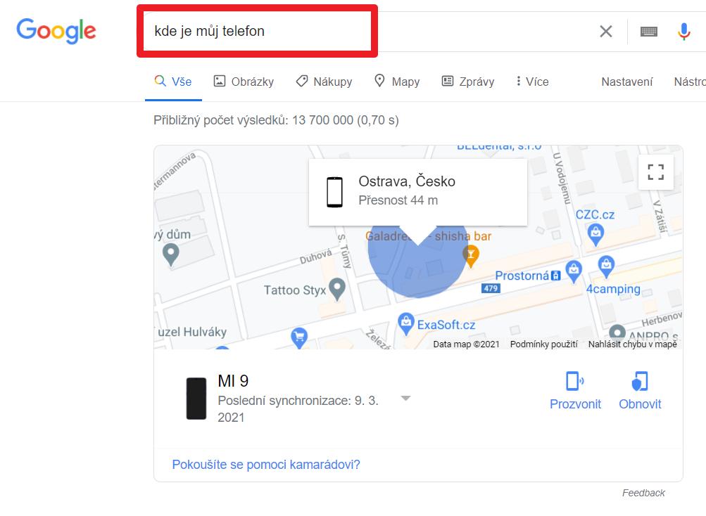 """Do vyhledávače Google zadejte dotaz """"kde je můj telefon"""""""