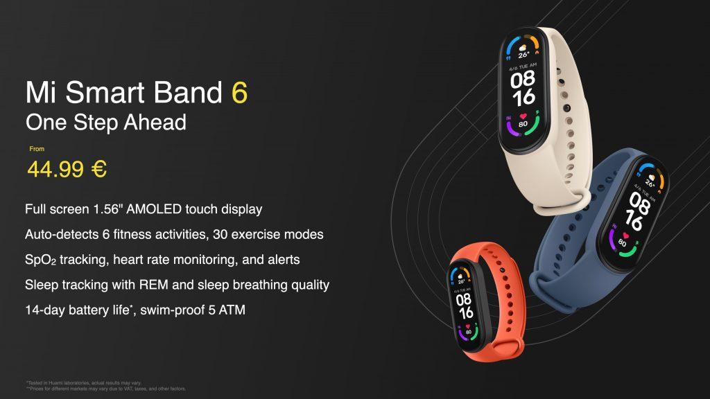 Doporučená cena Xiaomi Mi Smart Band 6 je 44,99 eur