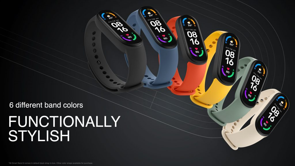 Xiaomi Mi Band 6 v šesti barvách