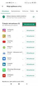 Aktualizaci všech aplikací provedete tlačítkem Aktualizovat vše
