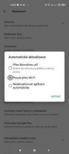 Doporučujeme možnost Pouze přes Wi-Fi