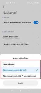 Možnosti automatických aktualizací