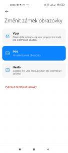 Na výběr je Vzor, PIN, nebo Heslo