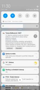 Oznamovací roletka ve stylu Android