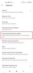 Přejděte do sekce Automatické aktualizace aplikací