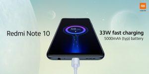 Redmi Note 10 má 5000mAh baterii a 33W nabíjení