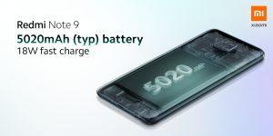 Redmi Note 9 má 5020mAh baterii a 18W nabíjení