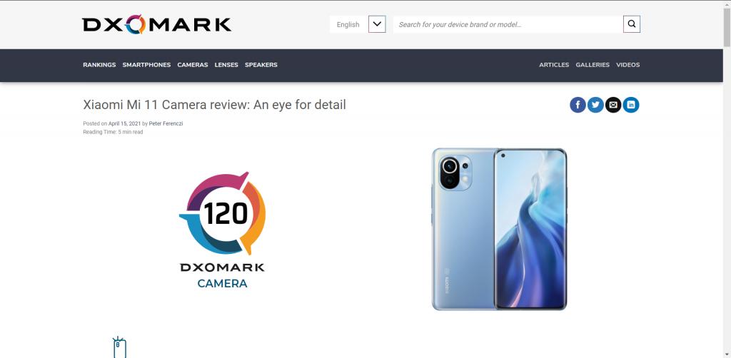 V DxOMarku získalo Xiaomi Mi 11 120 bodů