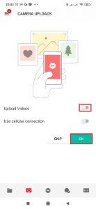 Aktivujte přepínač Upload Videos