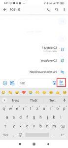 Dlouze podržet tlačítko pro odeslání zprávy