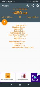 Informace o stavu baterie v aplikaci Ampere