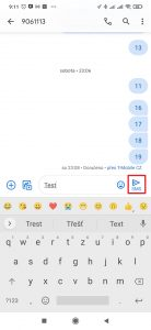 Napište text zprávy a SMS odešlete