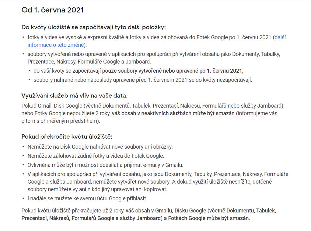 Nové podmínky Fotek Google od 1. 6. 2021