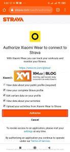 Povolte aplikaci Xiaomi Wear přístup do Stravy