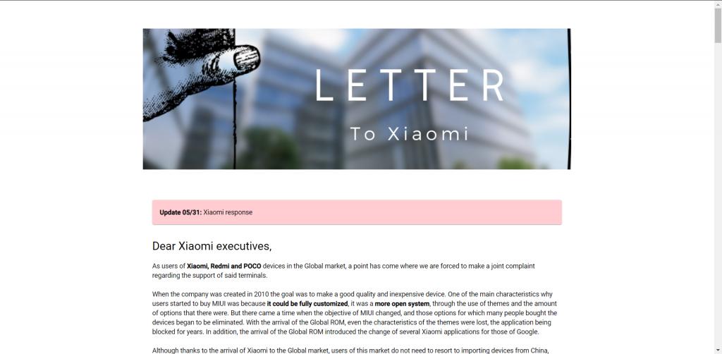 Otevřený dopis zákazníků Xiaomi