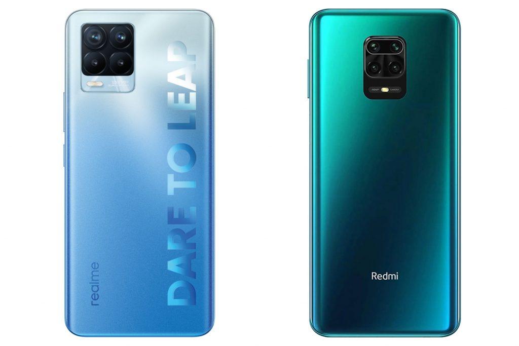 Zadní strana Realme 8 Pro a Redmi Note 9