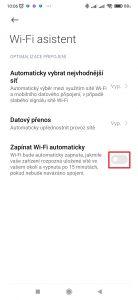 Aktivujte přepínač Zapínat Wi-Fi automaticky