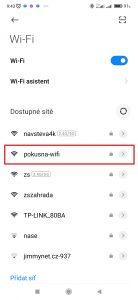 Klepněte na Wi-Fi, ke které se chcete připojit