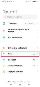 Přejděte do sekce Wi-Fi