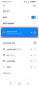 Telefon se připojí k Wi-Fi