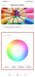 V sekci Teplota barev můžete vybírat Výchozí, Teplé, Studené, nebo si nadefinovat Vlastní