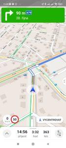 Navigace v aplikaci Mapy.cz
