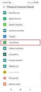 Pak v sekci Přístup při nastavení Nerušit otevřete True Phone
