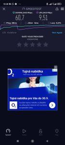 Test rychlosti v síti Vodafone