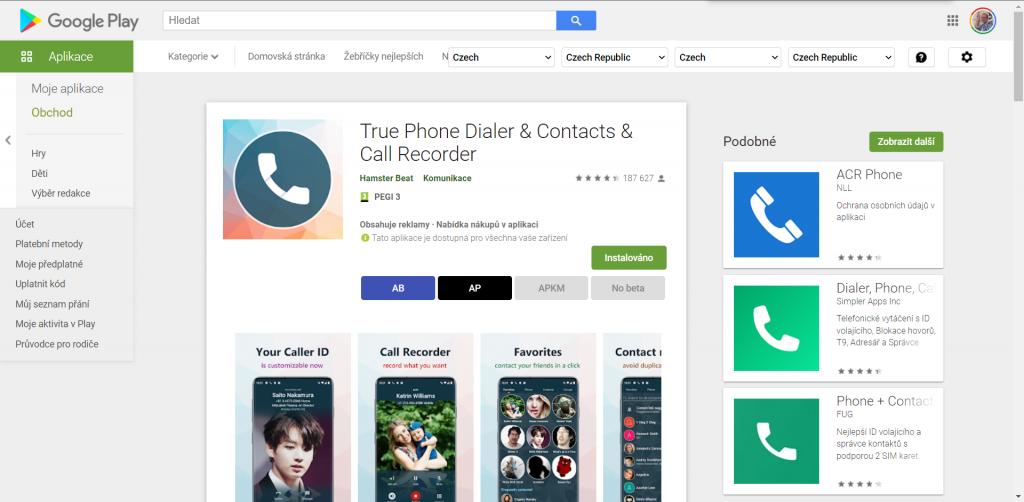 True Phone Dialer je v Obchodě Play zdarma