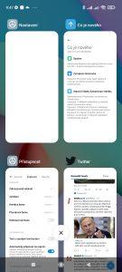 Vertikální seznam posledních spuštěných aplikací