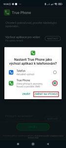 Změňte True Phone Dialer na výchozí